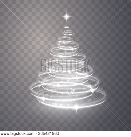 Christmas Tree From Light. Christmas Tree Vector Element For Holiday Festive Background. Shiny Light