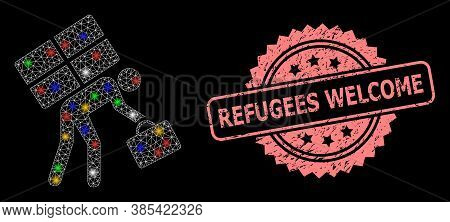 Shiny Mesh Network Refugee Person With Bright Dots, And Refugees Welcome Textured Rosette Stamp Seal