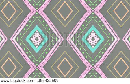 Seamless Tribal Background. Gray African Ethnic Pattern. Brush Paint Aztec Motif. Geometric Bohemian