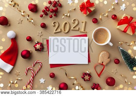 Empty Paper Blank, Cup Of Coffee And 2021 Number For New Year Greeting Card. Gift Boxes, Holiday Dec