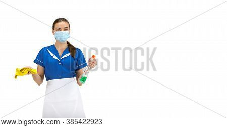 Using Cleaner. Portrait Of Female Made, Housemaid, Cleaning Worker In White And Blue Uniform Isolate