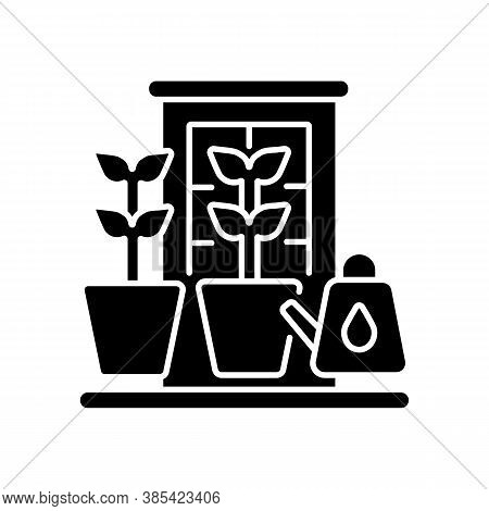Balcony Garden Black Glyph Icon. Watering Plants On Windowsill. Cultivate Vegetables Indoor. Home Ho