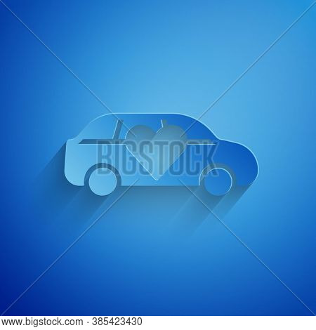 Paper Cut Luxury Limousine Car Icon Isolated On Blue Background. For World Premiere Celebrities And