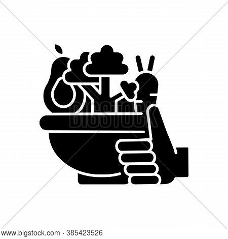 Healthy Food Black Glyph Icon. Organic Vegetables. Agricultural Production. Urban Gardening Products