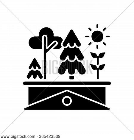 Green Roof Black Glyph Icon. Plants Grow On Building Rooftop. Lawn On Skyscraper. Urban Gardening. C