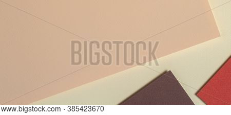 Abstract Geometric Paper Background In Earth Tones. Beige, Coral, Brown Colors Background