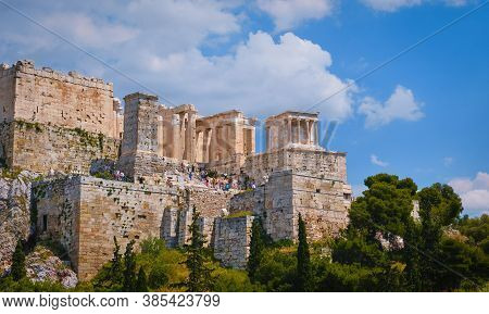View Of Acropolis Hill From Areopagus Hill In Summer Day With Great Clouds In Blue Sky, Athens, Gree