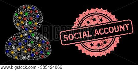Glare Mesh Net User With Light Spots, And Social Account Dirty Rosette Stamp Seal. Illuminated Vecto