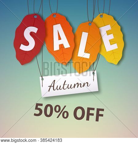 Autumn Sale 50 Percent Off. Vector Fall Leaf Isolated. Bright Fall Leaves. Poster, Card, Label, Bann