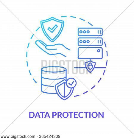 Data Protection Concept Icon. Safeguarding Personal Information Idea Thin Line Illustration. Confide