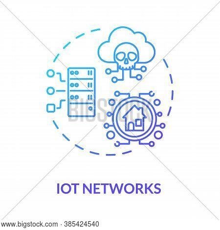 Iot Networks Concept Icon. Internet Connectivity Safeguard Idea Thin Line Illustration. Cyber-attack