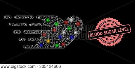 Glare Mesh Web Rush Lovely Heart With Flash Nodes, And Blood Sugar Level Grunge Rosette Stamp Seal.