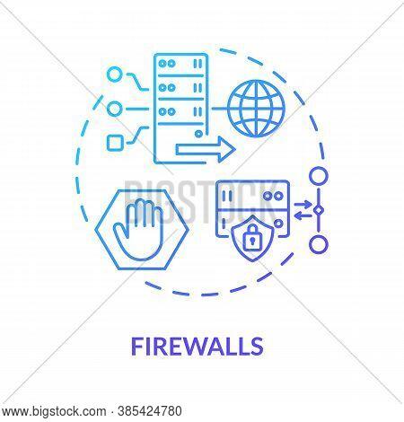 Firewalls Concept Icon. Unauthorized Access Prevention. Computing Idea Thin Line Illustration. Traff