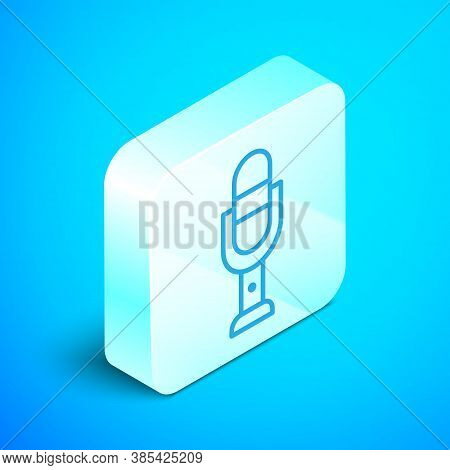 Isometric Line Microphone Icon Isolated On Blue Background. On Air Radio Mic Microphone. Speaker Sig