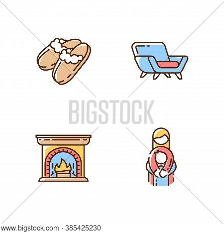 Cozyness Mood Rgb Color Icons Set. Danish Hyggelig Style. Family Embrace. Home Time. Wood Burning Fi