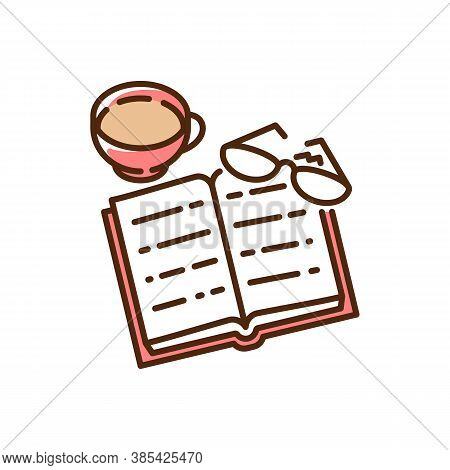 Books Reading Red Rgb Color Icon. Indoor Hobby. Education. Book, Glasses, Mug With Hit Cocoa. Life S
