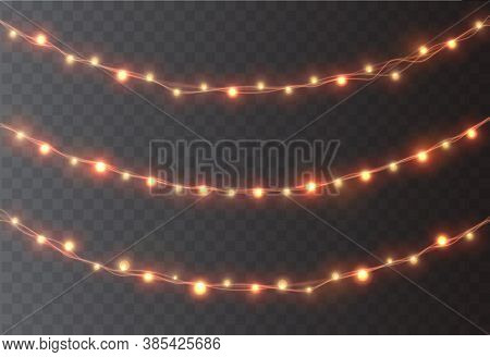 Christmas Garland Decoration. Led Neon Lights And Lanterns Isolated On Transparent Background. Vecto
