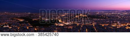 Panorama Of Athens And Saronic Gulf On Lycabettus Hill At Dusk. Acropolis, Parthenon, Hellenic Parli