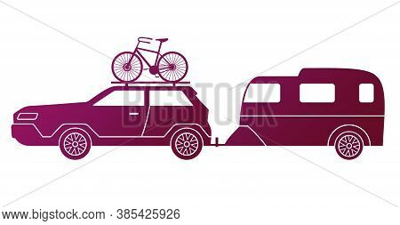 Traveling By Car, Caravaning Tourism. Automobile With Bike On The Roof And Travel Trailer Isolated O