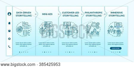 Storytelling In Digital Marketing Campaign Onboarding Vector Template. Mini-ads, Philanthropic Story