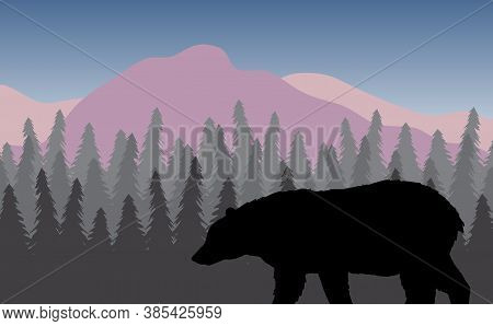 Vector Black Grizzly Bear Silhouette In Flat Colored Landscape With Spruce Tree Forest And Mountains