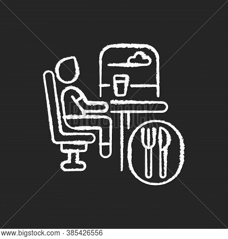 Dining Car Chalk White Icon On Black Background. Traveling With Comfort, Train Restaurant. Train Ser