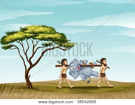 illustration of mens and elephant in a beautiful nature