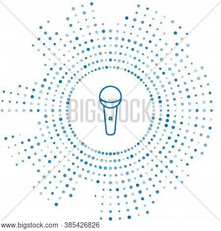 Blue Line Microphone Icon Isolated On White Background. On Air Radio Mic Microphone. Speaker Sign. A