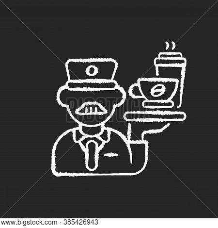 Stewart Chalk White Icon On Black Background. Railway Service, Comfortable Railroad Travel. Professi