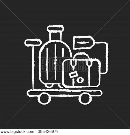 Baggage Car Chalk White Icon On Black Background. Railway Transportation, Train Service. Holiday Tri