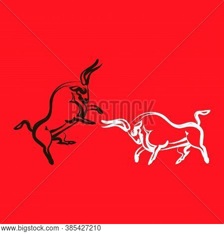 White Bull Attacks Black Bull. Black Bull Defends Itself. Two Young Strong Animals Silhouettes. Bull