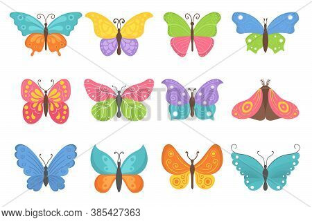 Butterfly Collection In Flat Design. Set Of Flying Butterflies Icons Isolated On A White Background.