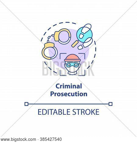Criminal Prosecution Concept Icon. Digital Verefication System. Crime Stopping Future Technologies I