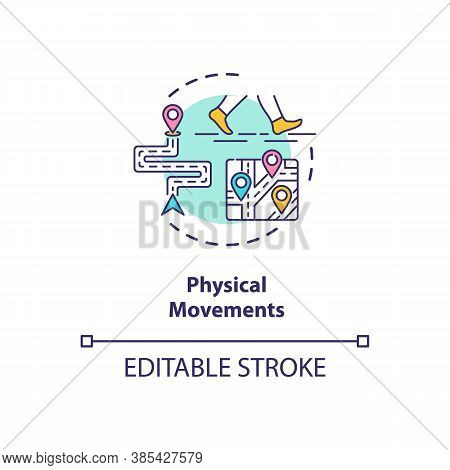 Physical Movements Concept Icon. Walking Patterns. People Behaviour Digital Recognition System Idea