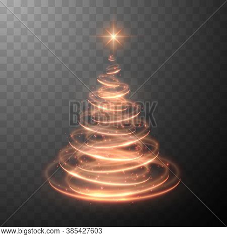 Holiday Vector Illustration Of Abstract Christmas Tree With Blurred Lights Effect On Abstract Backgr