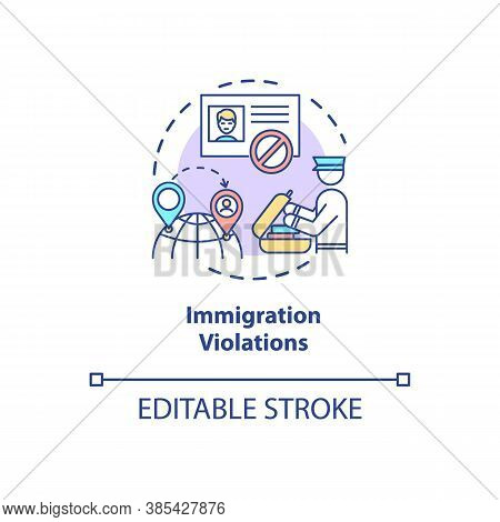 Immigration Violations Concept Icon. Border Crossing Control System. Biometrics Security Technologie