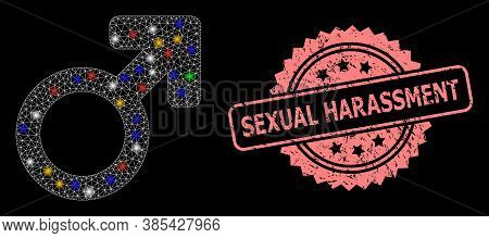 Bright Mesh Net Male Symbol With Bright Dots, And Sexual Harassment Textured Rosette Seal Print. Ill