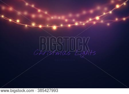 Christmas Background With Light Bulb Garland. Vector Christmas Lights