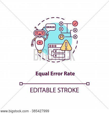 Equal Error Rate Concept Icon. Futuristic Biometrics System Error. Biometric System Performance Anal