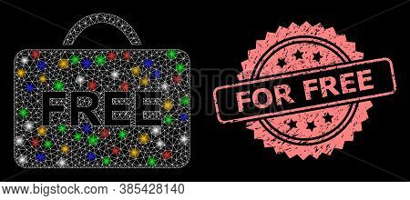 Bright Mesh Web Free Case With Bright Dots, And For Free Corroded Rosette Seal. Illuminated Vector M