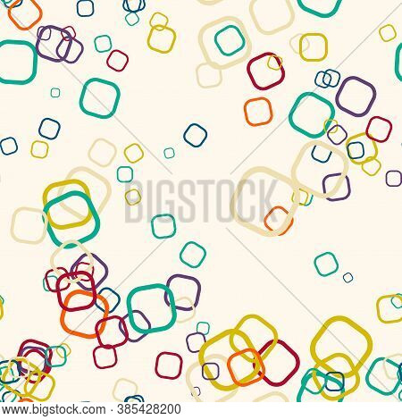 Cartoon Colorful Geo Seamless Pattern With Chaotic Round Squares. Confetti Wrapping Paper. Messy Geo
