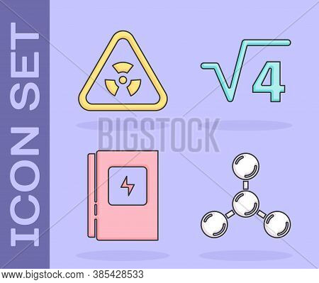 Set Molecule, Triangle With Radiation, Electrical Panel And Square Root Of 4 Glyph Icon. Vector