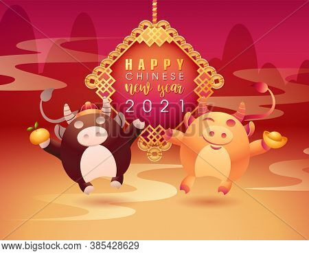 Happy Chinese New Year Congratulation Card. Oriental Bull, Ox Mascot Holds Gold Ingot And Tangerine