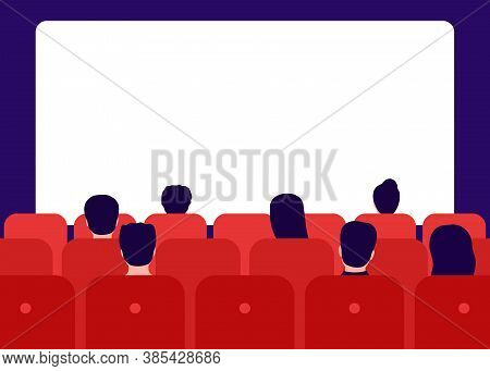 People Watching Movie In Cinema, Rear View. Men And Women Sit In Red Chairs And Watch Movies. Watchi