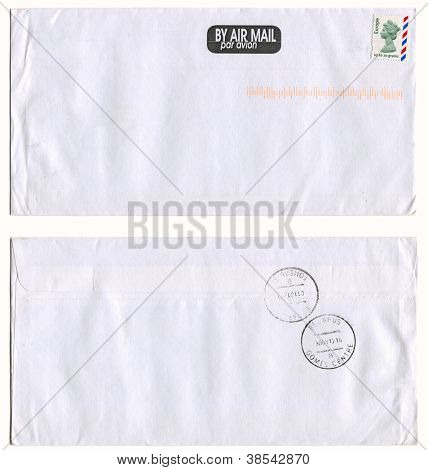 UK - CIRCA 2012: Mailing envelope with postage stamps dedicated to Elizabeth 2, and the reverse side, circa 2012.