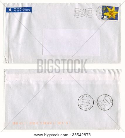 SWITZERLAND - CIRCA 2012: Mailing envelope with postage stamps dedicated to Lycopersicon Flower, and the reverse side, circa 2012.