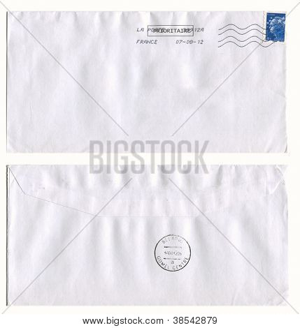 FRANCE - CIRCA 2012: Mailing envelope with postage stamps dedicated to Simbol of France, and the reverse side, circa 2012.