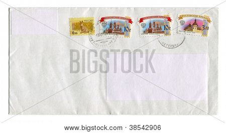 RUSSIA - CIRCA 2012: Mailing envelope with postage stamps dedicated to Russian kremlins and animals, circa 2012.