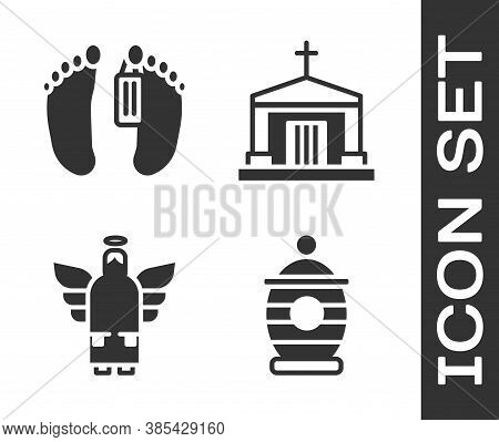 Set Funeral Urn, Dead Body, Christmas Angel And Old Crypt Icon. Vector