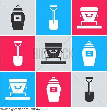 Set Funeral Urn, Shovel And Coffin Icon. Vector